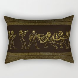Ancient Sparta  Greece scene on greek pattern Rectangular Pillow