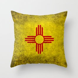 Flag of New Mexico - vintage retro style Throw Pillow