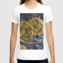 Four Cut Sunflowers - Auvers-sur-Oise Four sunflowers gone to seed by Vincent van Gogh T-shirt
