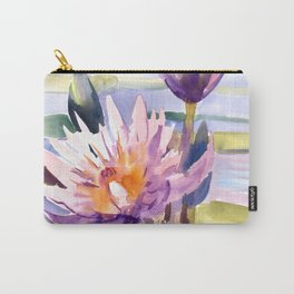 Water Lily,  Lotus, Asian Ink drawing Zen brush pink purple flower Carry-All Pouch