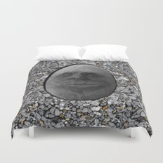 Happy Alien Monster Rock face , portrait in stone effect Duvet Cover