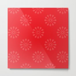 Snowflakes - red and white Metal Print
