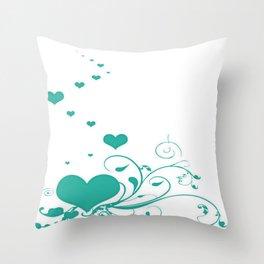 Aquamarine Valentine Hearts On A White Background Throw Pillow