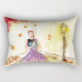Autumn Girl Watercolor Illustration. Rectangular Pillow