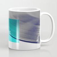 records Mugs featuring Records - Blue by Galaxy Eyes