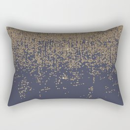 Navy Blue Gold Sparkly Glitter Ombre Rectangular Pillow