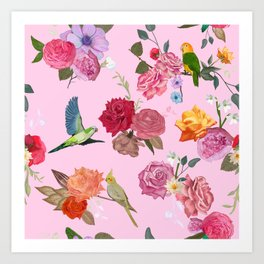 Beautiful roses and tropical birds pink Art Print