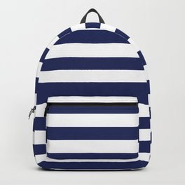 Navy Blue and White Stripes Backpack