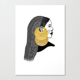 Girl with القمر بوبا earrings Canvas Print