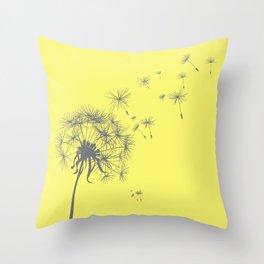 Bright Sunny Yellow + Gray Dandelion Throw Pillow