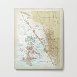 Anais Nin Vintage Mermaid Map Metal Print