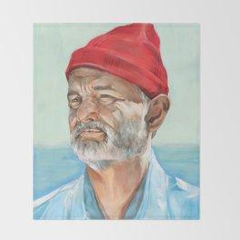 Steve Zissou Bill Murray Painted Portrait Throw Blanket