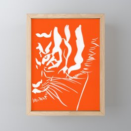 Eye Of The Tiger - Orange & White Framed Mini Art Print