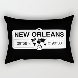 New Orleans Louisiana Map GPS Coordinates Artwork Rectangular Pillow