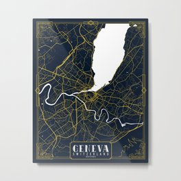 Geneva City Map of Switzerland  - Gold Art Deco Metal Print