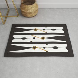 Laundry Clothespins - Gold, Black and White Rug