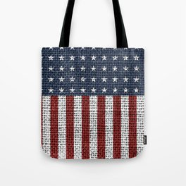 USA American Flag Rustic Jute Style 4th July Decor Tote Bag