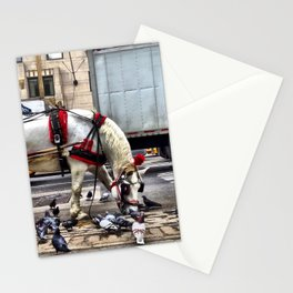 We get along like pigeons and horses. Stationery Cards