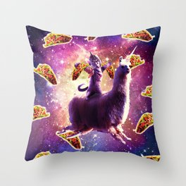 Warrior Space Cat On Llama Unicorn - Taco Throw Pillow