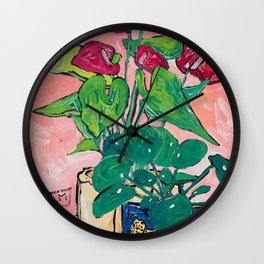 Houseplant Still Life Painting with Cheetah, Pilea, and Anthurium  Wall Clock