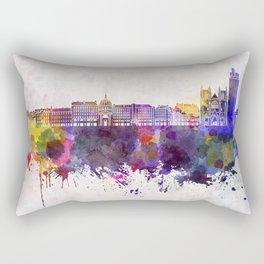 Nantes skyline in watercolor background Rectangular Pillow