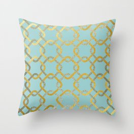 Silver and gold chains Throw Pillow
