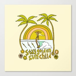 stay golden sun child //retro surf art by surfy birdy Canvas Print