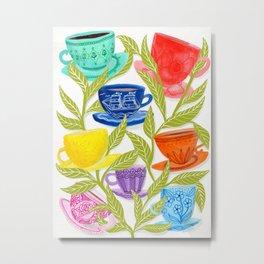 Tea Cups, Patterns, and Leaves Metal Print