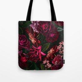 Vintage & Shabby Chic - Night Botanical Flower Roses Garden Tote Bag