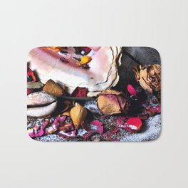 Maritime Symphony with Sea Shells and Roses Bath Mat
