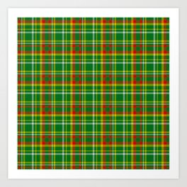 Green Red Yellow and White Plaid Art Print