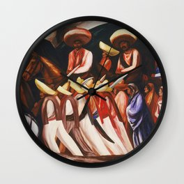 Mexican Revolution Zapatistas — Zapata's followers on the march painting by Jose Clemente Orozco Wall Clock