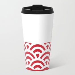 Rainbow Trim Scarlet Red Travel Mug