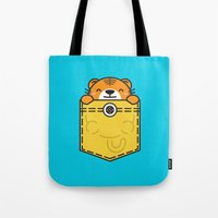 pocket Tote Bags featuring Pocket Tiger by Steven Toang