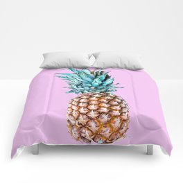 Pineapple On A Pink Background #decor #society6 #homedecor Comforters