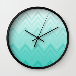 Fading Teal Chevron Wall Clock