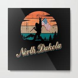 North Dakota USA Flag Metal Print