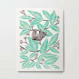 Happy Sloth – Tropical Mint Rainforest Metal Print