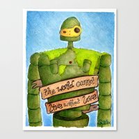 laputa Canvas Prints featuring LAPUTA: CASTLE IN THE SKY Illustration: ROBOT by  Siân Brierley