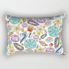 Illustrated Seashell Pattern Rectangular Pillow