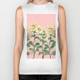 Sunflowers in Pink Biker Tank