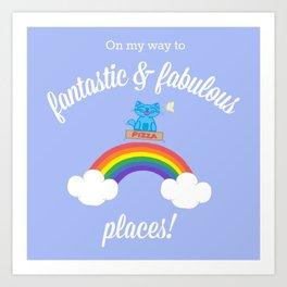 Milo Blue Cat Pizza Box Over Rainbow Art Print