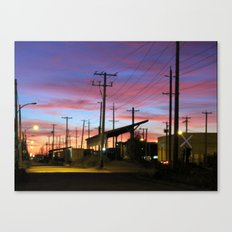 sunset by the old station  Canvas Print