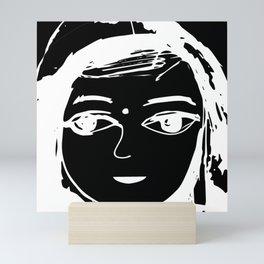 Indian girl black-white drawing Mini Art Print