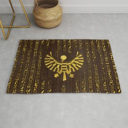 Golden Egyptian Horus Falcon and hieroglyphics on wood Rug