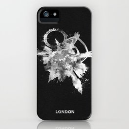 London, United Kingdom Black and White Skyround / Skyline Watercolor Painting (Inverted Version) iPhone Case