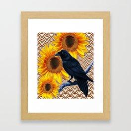 Yellow-Brown Asian Sunflowers Crow Design Framed Art Print