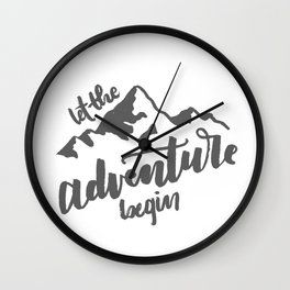 Let the Adventure Begin WHITE Wall Clock