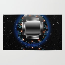 Electronic Motherboard Circuit Sphere Globe Rug