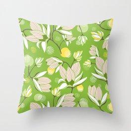 Magnolia Blossom Greenery Throw Pillow